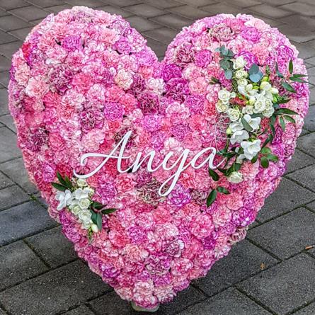 Virágposta - Szív koszorú rózsaszín, pinkes színben