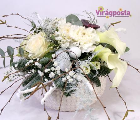 Virágposta - Hófehér! - téli virágtál rózsákkal, kálákkal