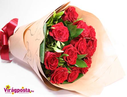 Virágposta - Vörös rózsák tölcsérben