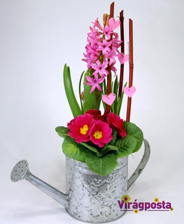 Virágposta - Szívküldi szívnek...- Virágtál fém kannában