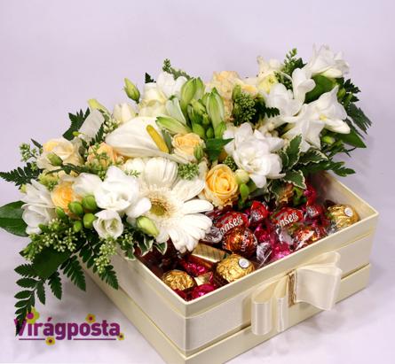 Virágposta - Édesemnek! - Virágbox csokikkal