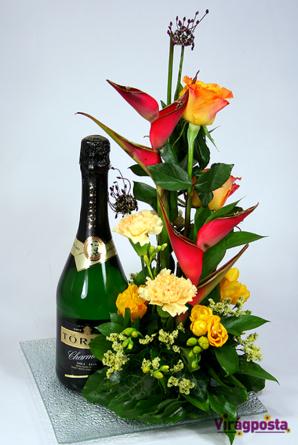 Virágposta - Ajándék virágtál törley pezsgővel