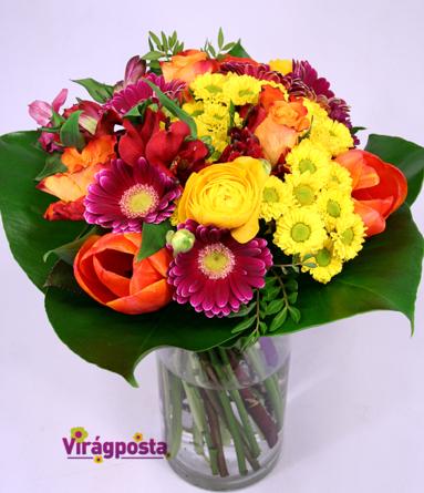 Virágposta - Here comes the sun - ajándékcsokor