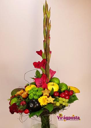 Virágposta - Megérett a meggy! - Ballagási csokor gyümölcsökkel