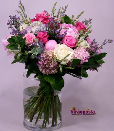 Virágposta - Pink rózsák nyári csokorban