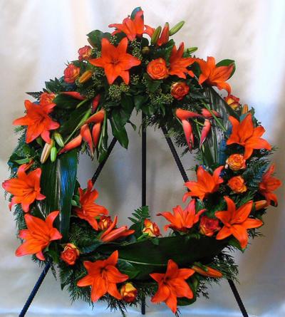 Virágposta - Görög koszorú narancs színben