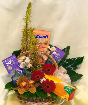 Virágposta - Virágkosár diétás édességekkel