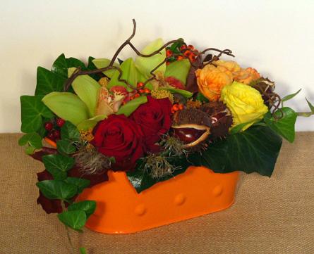Virágposta - Virágtál rózsával, orchideával