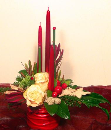 Virágposta - Karácsonyi asztaldísz rózsákkal