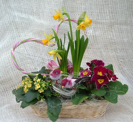 Virágposta - Tavaszköszöntő virágkosár
