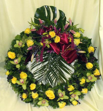 Virágposta - Görögkoszorú orchideával, liliomokal, rózsákkal