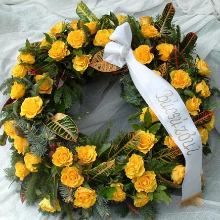 Virágposta - Búcsúzunk - Görögkoszorú sárga rózsákkal
