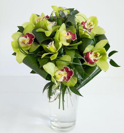 Virágposta - Egzotikus zöld orchideák - orchidea csokor