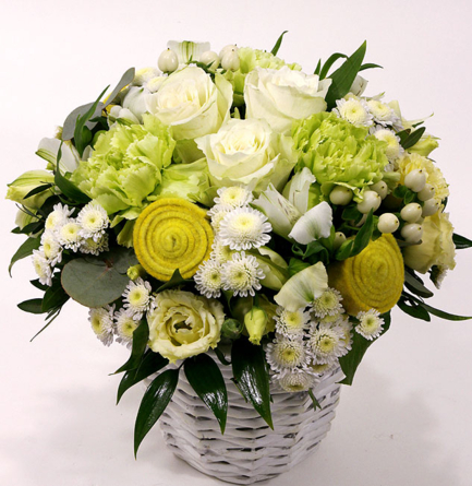 Virágposta - Fehér rózsás gömb - virágkosár