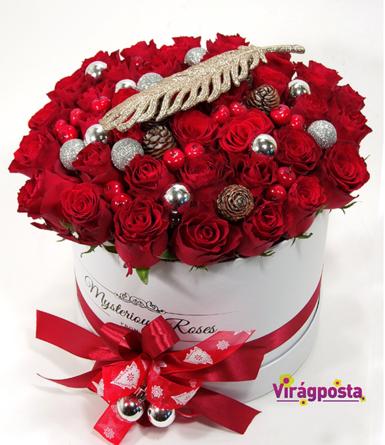 Virágposta - Karácsonyi vörös rózsák hengerdobozban