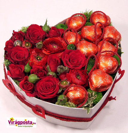 Virágposta - Édes Szívem! - rózsadoboz marcipánokkal