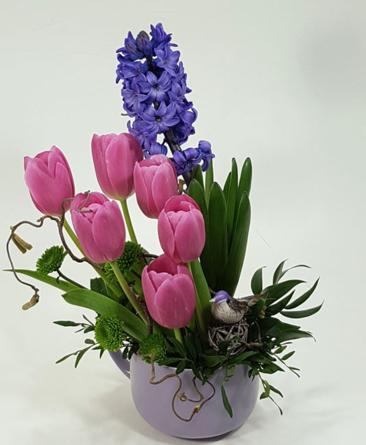 Virágposta - Virágtál tulipánokkal és jácinttal