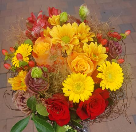 Virágposta - Indián nyár - kerek csokor élénk színekben
