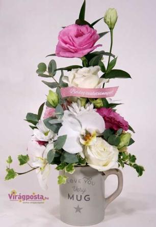 Virágposta - I love you - virágbögre rózsákkal és orchideákkal!