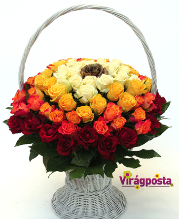 Virágposta - Szivárvány rózsakosár