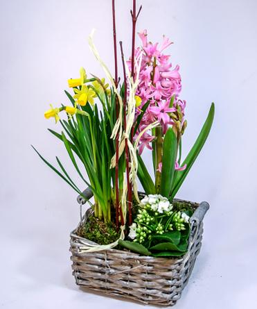 Virágposta - A tavasz üzenete - virágösszeültetés négyszögletes kosárban