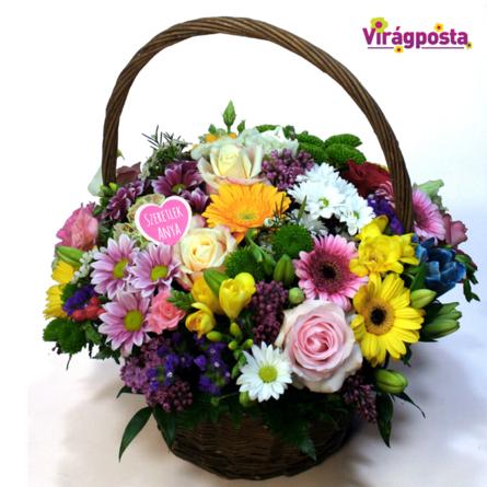Virágposta - Szivárványos virágkosár, rózsákkal