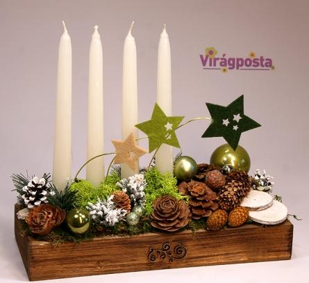 Virágposta - Csillagos Karácsony - gyertyás asztaldísz