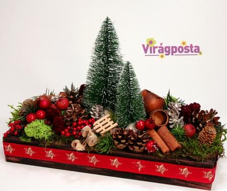 Virágposta - Téli kaland - karácsonyi asztaldísz, dekoráció
