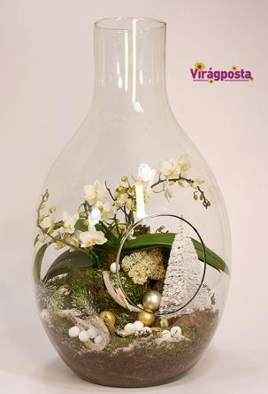 Virágposta - Karácsonyi orchideák üveggömbben - különleges ajándék