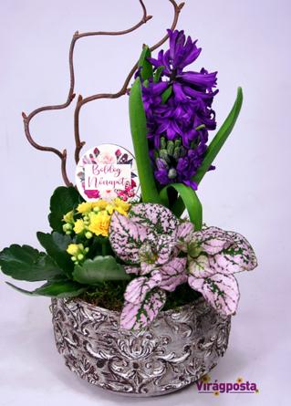 Virágposta - Friss Tavasz - összeültetés kőtálban
